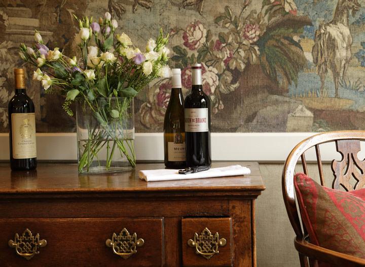Wine bottles on dresser