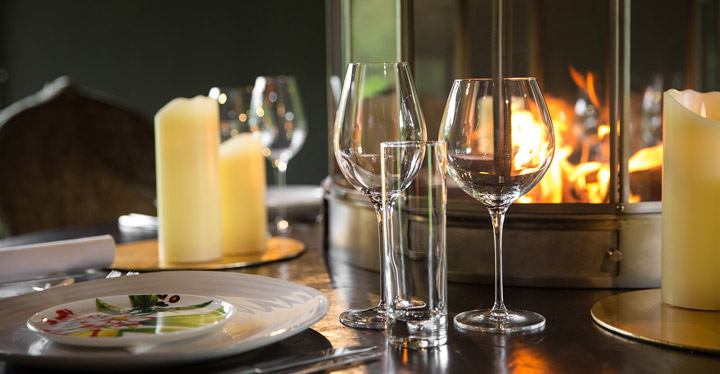 Wine glasses on private dining table