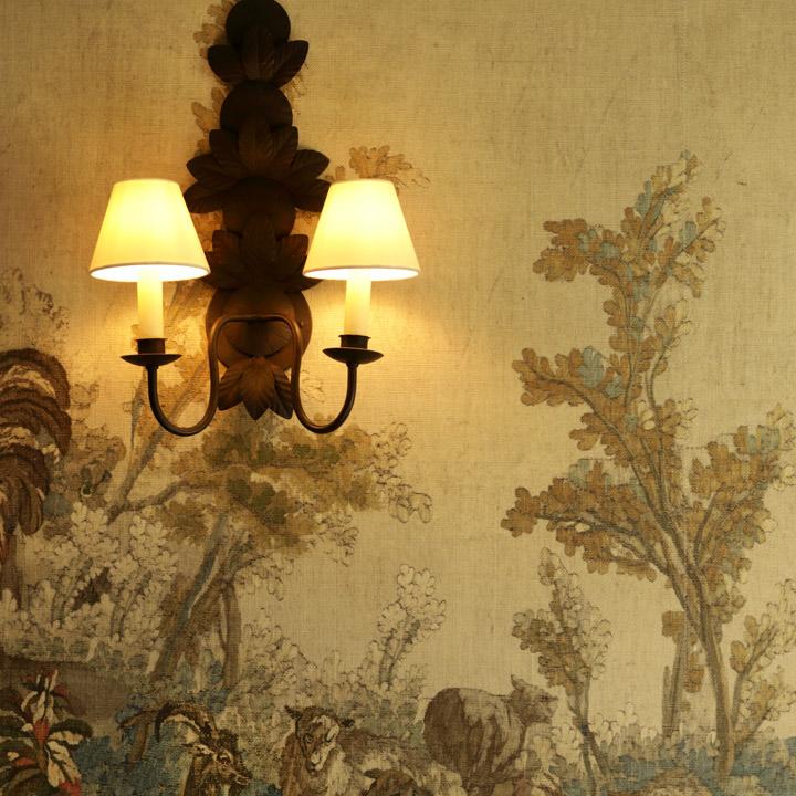 Lamp on wallpaper