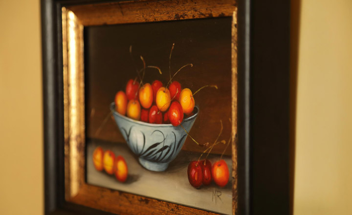 Cherries in bowl painting